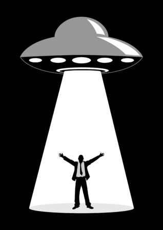 encounter: Illustration of a businessman abducted by unidentified flying object