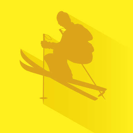 thrill: Silhouette illustration of a man playing ski