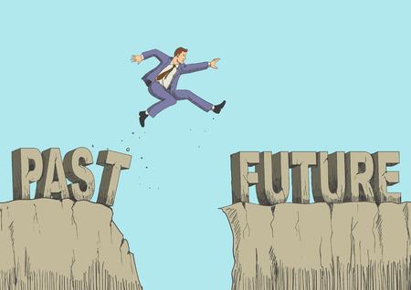 Cartoon illustratie van een man springt van verleden naar de toekomst