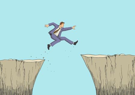 Cartoon illustration of a man jumps from the ravine Illustration