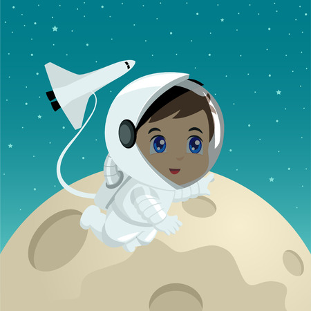 kiddies: Cartoon illustration of an astronaut on the moon surface Illustration