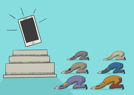 dependence: Cartoon illustration of men worshiping a gadget or smart phone