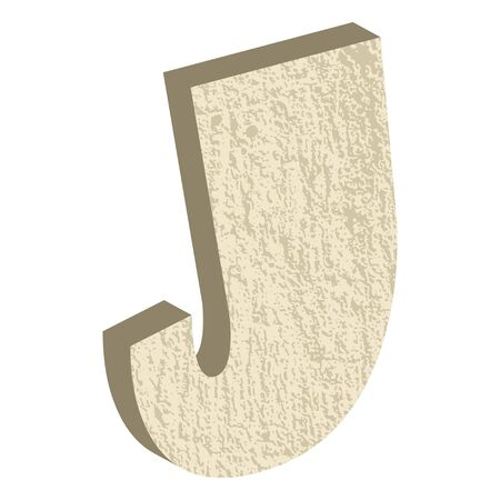 rock stone: Font type with rock or stone texture, letter J Illustration