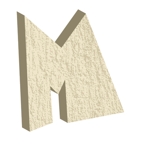 rock stone: Font type with rock or stone texture, letter M Illustration