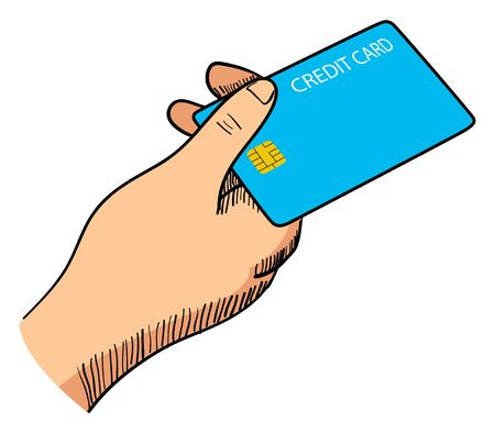 paying bills: Line art illustration of a hand giving a credit card Illustration