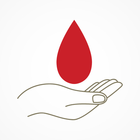 donor: Simple graphic of a hand with blood drop symbol. Care, giving, donor, charity concept