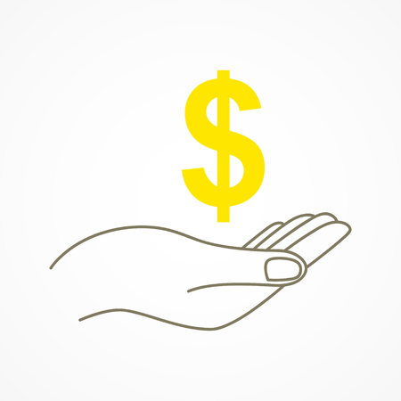 Simple graphic of a hand holding a dollar currency symbol