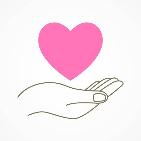 adoration: Simple graphic of a hand holding a heart shape symbol Illustration