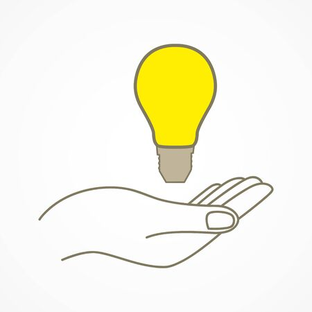 lightbulbs: Simple graphic of a hand with light bulb