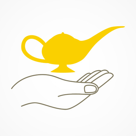 fortune concept: Simple graphic of a hand holding a magic lamp, fortune, magic concept Illustration