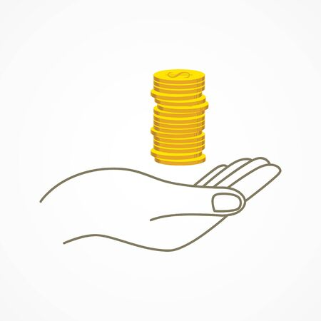 withdraw: Simple graphic of a hand holding coins Illustration