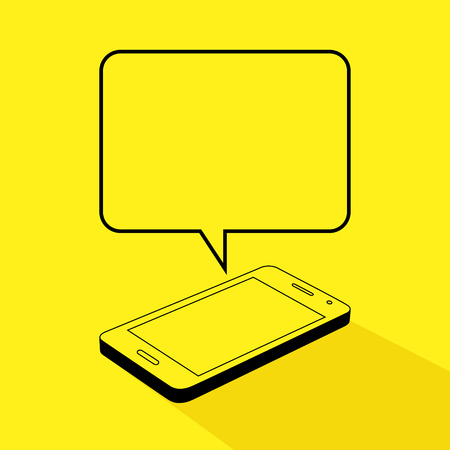 mobile phones: Line art illustration of a smart phone with bubble text