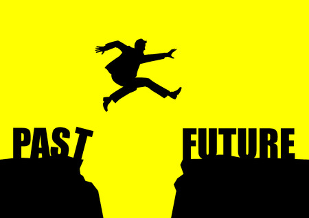 Silhouette illustration of a man jumps from past to future Illustration