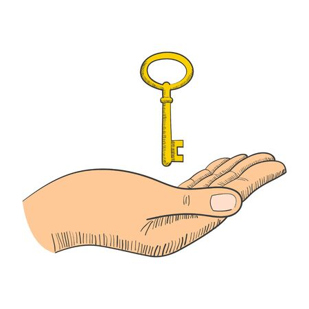 give: Simple graphic of a hand with key Illustration