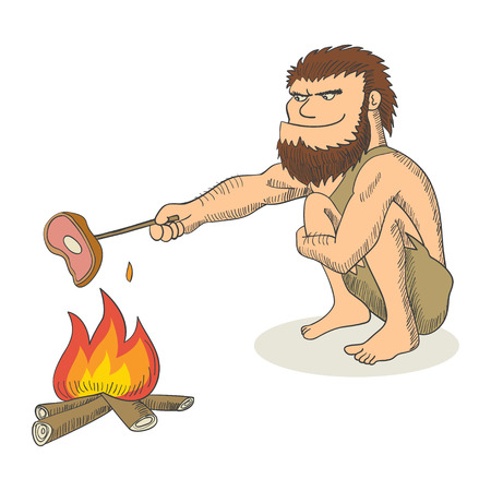 Cartoon illustration of a caveman cooking meat on fire Ilustração