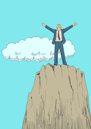 determination: Cartoon illustration of a businessman standing with open arms on top of a mountain. Success, determination, freedom concept