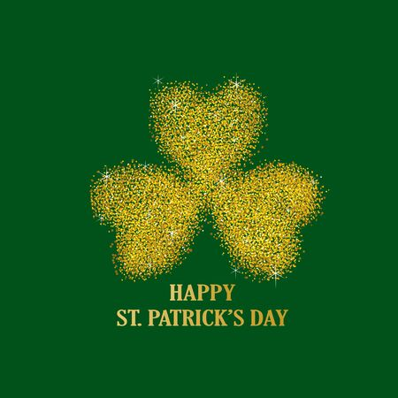 leaved: Gold dust of three leaved shamrock, symbol of Saint Patrick Illustration
