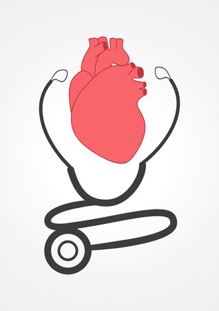 Pittogramma di uno stetoscopio e un cuore. Per medica, sanità, cardiologo, tema cardiologia Logo