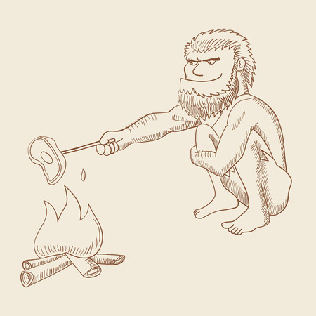 squat: Line art illustration of a caveman cooking meat on fire