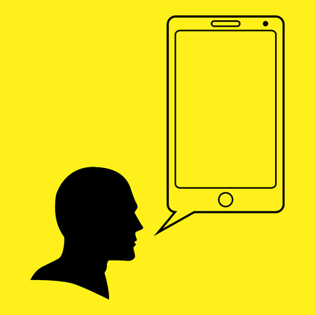 head phone: Graphic illustration of a human head and smart phone as bubble text