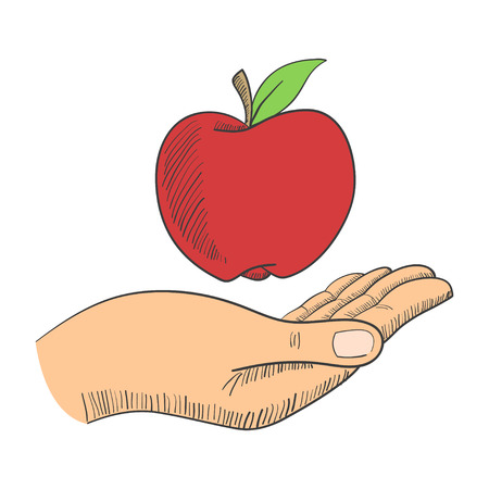 adam and eve: Illustration of a hand with an apple