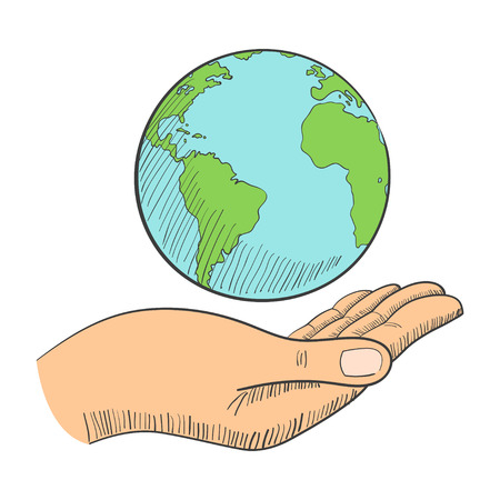 hand holding globe: Illustration of a hand holding globe