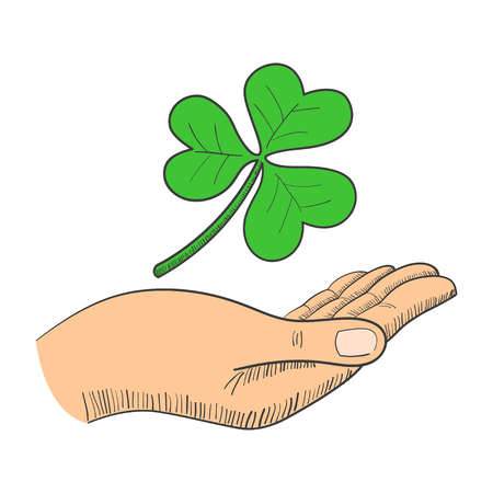 three leaved: Illustration of a hand with three-leaved shamrock