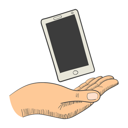 hand phone: Illustration of a hand with a smart phone Illustration