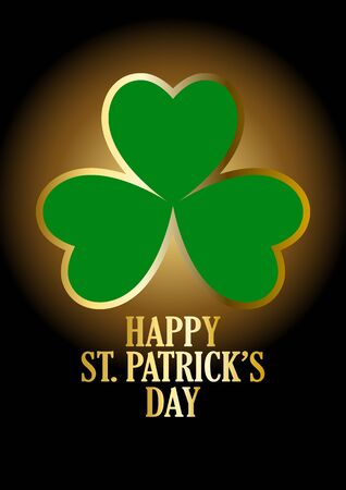three leaved: Text of Happy Saint Patricks Day with three-leaved shamrock on dark background