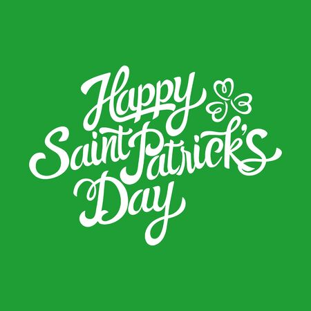 three leaved: Text of Saint Patricks Day with decorative three-leaved shamrock on green background