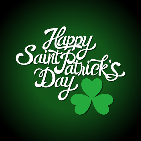 three leaved: Text of Saint Patricks Day with decorative three-leaved shamrock on dark background