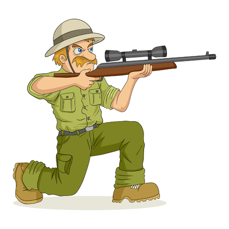 hombre disparando: Ilustración de dibujos animados de un cazador que apunta un rifle