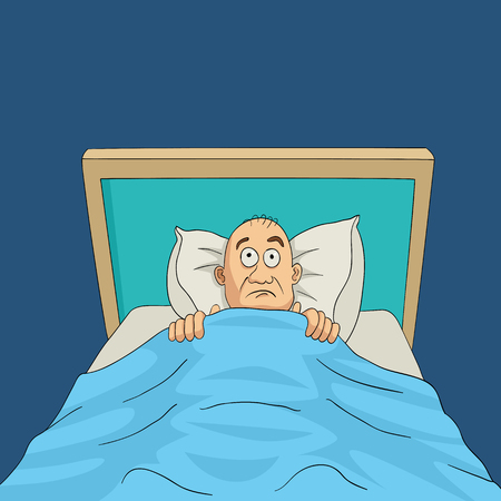 fear cartoon: Cartoon illustration of a man on bed with eyes wide open, insomnia, nightmare theme