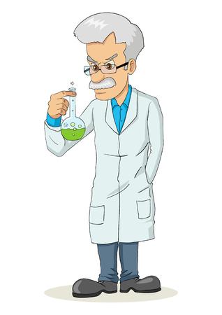 physicist: Cartoon illustration of a professor holding a lab tube