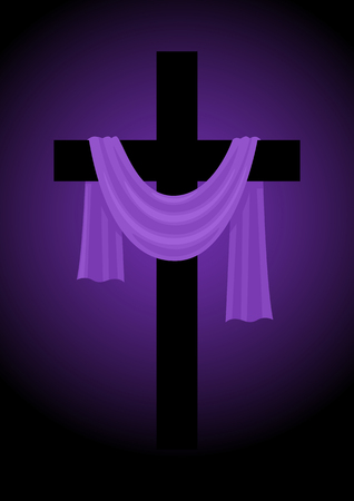 Illustration of a cross with purple sash, Good Friday, easter, christianity theme Vettoriali