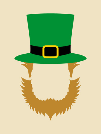green face: Face symbol of leprechaun with green hat, for St. Patricks day, luck, fortune, theme