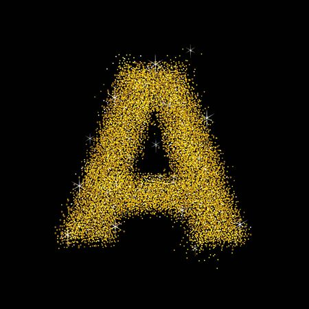 gold dust: Gold dust font type letter A