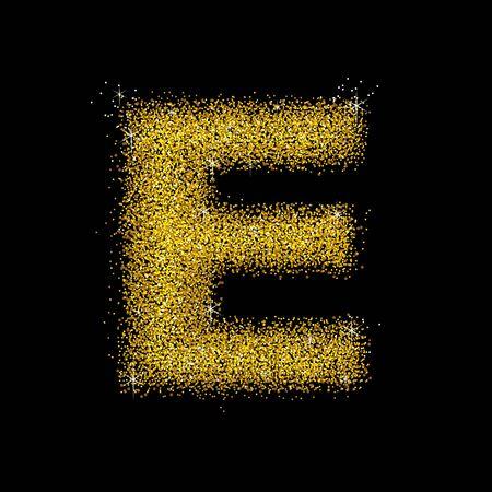 polvo: Polvo de oro tipo de fuente letra E