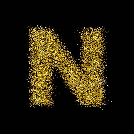 gold dust: Gold dust font type letter N