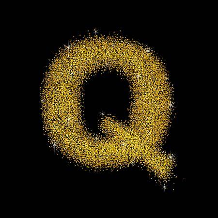 polvo: la fuente de polvo de oro tipo de letra Q
