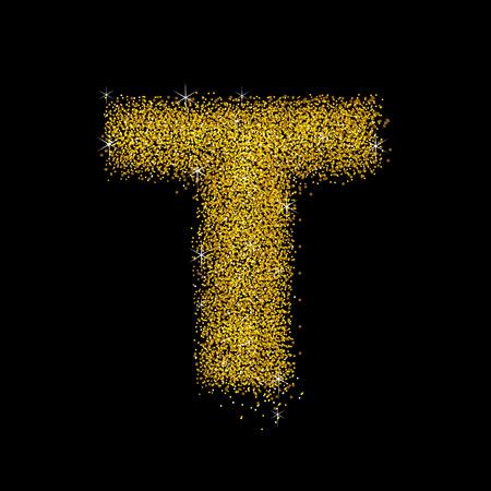 polvo: Oro carta de polvo de tipo de letra T Vectores