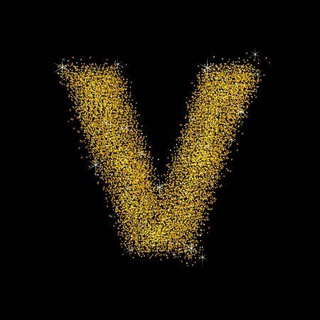 staub: Goldstaub Schriftart Buchstaben V