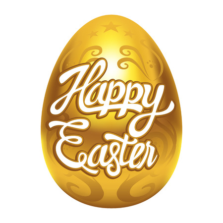 golden egg: Decorative golden egg with Happy Easter text, made with gradient mesh in vector format
