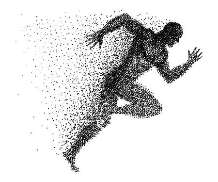 Een sprinter gemaakt van kleine stippen