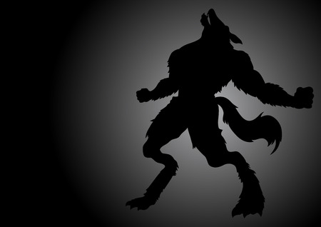 curse: Stock vector of a werewolf howling in the dark night