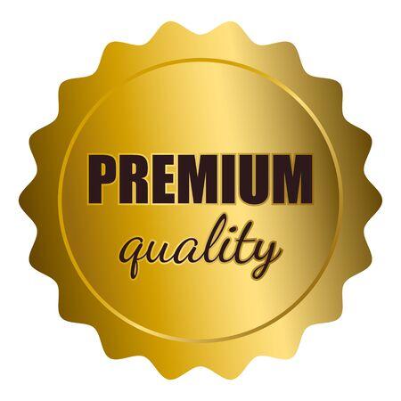 Grafische illustratie van gouden zegel met premium kwaliteit tekst op een witte achtergrond