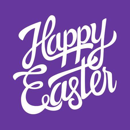 handwritten: Happy Easter hand lettering on purple background
