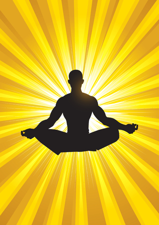 focus: Silhouette illustration of a man figure meditating on light burst background Illustration