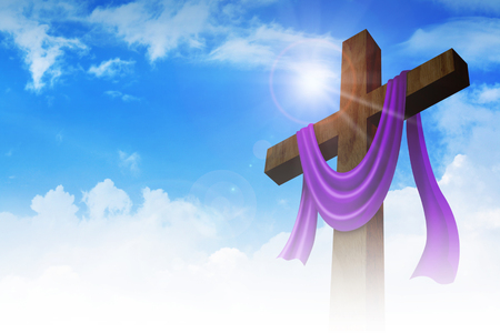 crucify: A cross with purple sash on clouds background, for good friday, resurrection, easter, christianity theme