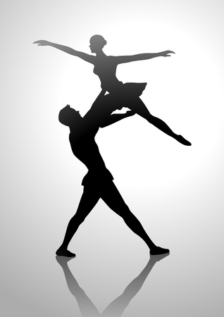 Ilustración de la silueta de una pareja de baile de ballet